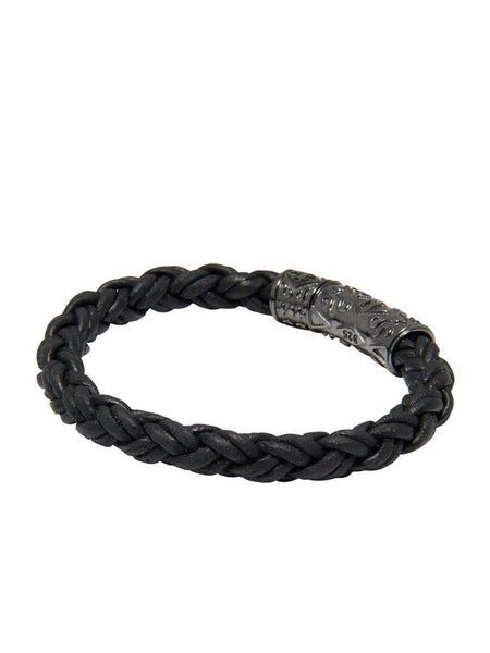 Men's Black Braided Leather Bracelet with Black Rhodium Lock - Nialaya Jewelry  - 3