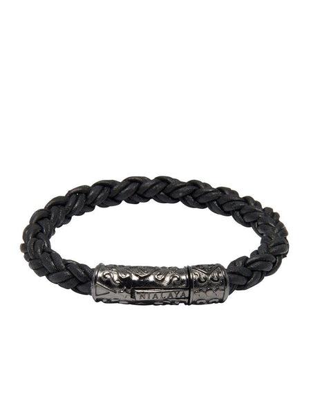 Men's Black Braided Leather Bracelet with Black Rhodium Lock - Nialaya Jewelry  - 4