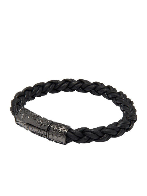 Men's Black Braided Leather Bracelet with Black Rhodium Lock - Nialaya Jewelry  - 1