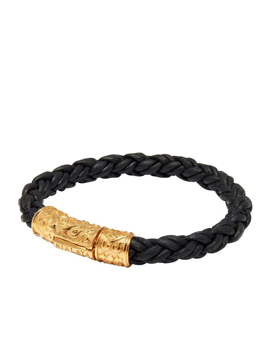 Men's Black Braided Leather Bracelet with Gold Lock - Nialaya Jewelry  - 1