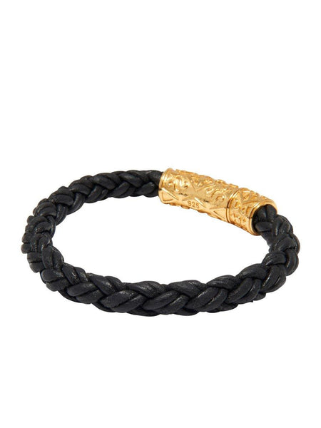 Men's Black Braided Leather Bracelet with Gold Lock - Nialaya Jewelry  - 3