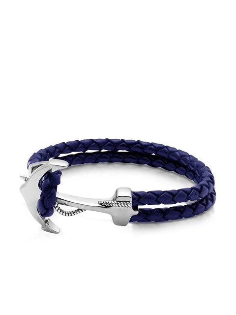 Men's Navy Leather Bracelet with Silver Anchor - NIALAYA INC