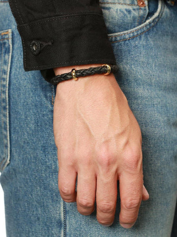 Men's Black Braided Leather Bracelet with Gold Lock - Nialaya Jewelry  - 2