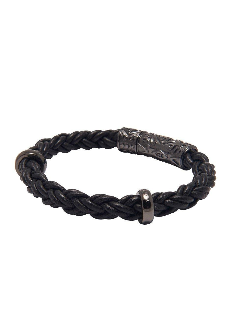 Men's Black Braided Leather Bracelet with Black Rhodium Lock - NIALAYA INC