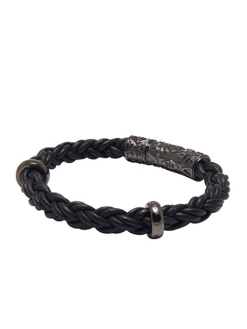 Men's Black Braided Leather Bracelet with Black Rhodium Lock
