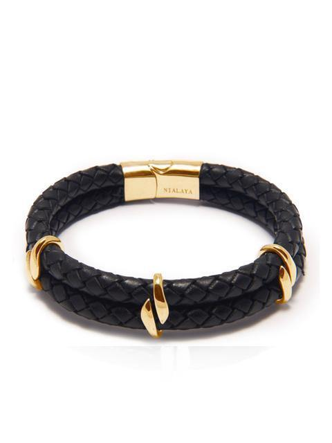 Men's Black Leather Bracelet with Gold Beads