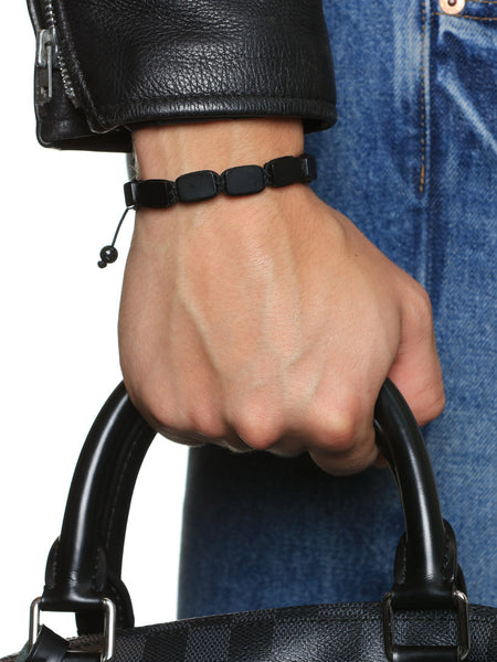 Men's Flatbead Bracelet with Matte Onyx - Nialaya Jewelry  - 2