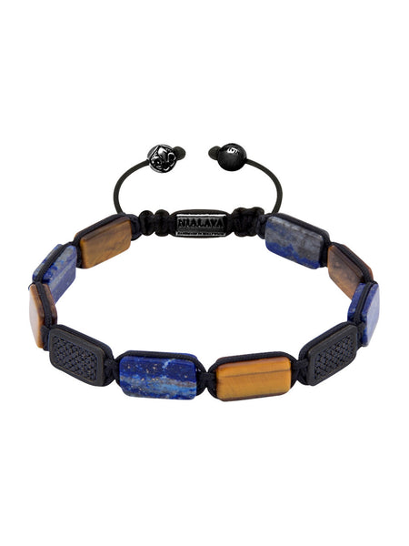 Flatbead Bracelet Brown Tiger Eye, Blue Lapis & Black CZ Diamonds - Nialaya Jewelry  - 1