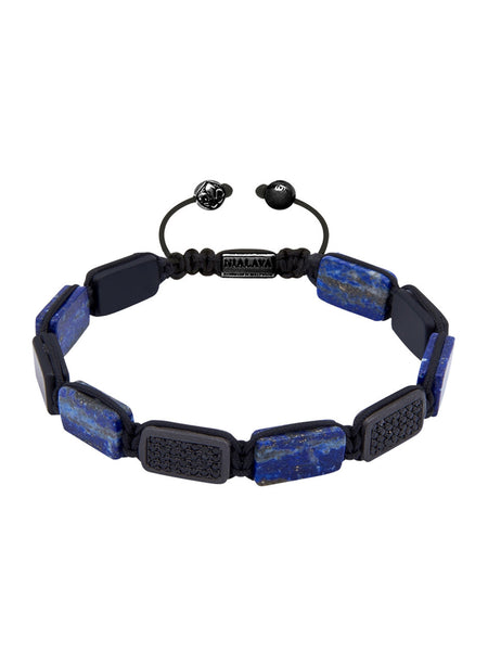 Flatbead Bracelet Blue Lapis & Black CZ Diamonds - Nialaya Jewelry  - 1