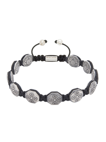 Men's Flatbead Bracelet with Silver Dorje Beads - Nialaya Jewelry  - 1