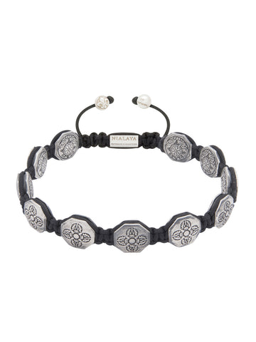 Men's Flatbead Bracelet with Silver Dorje Beads