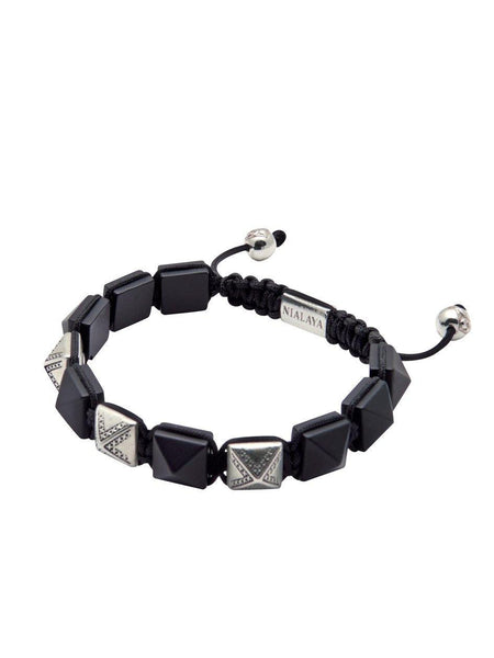 Men's Himalaya Collection - Matte Onyx and Silver - Nialaya Jewelry  - 3