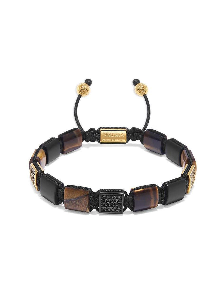 The CZ Flatbead Collection - Brown Tiger Eye and Matte Onyx - NIALAYA INC