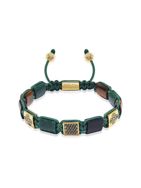 The Dorje Flatbead Collection - Green African Jade, Matte Onyx, and Brown Tiger Eye - Nialaya Jewelry