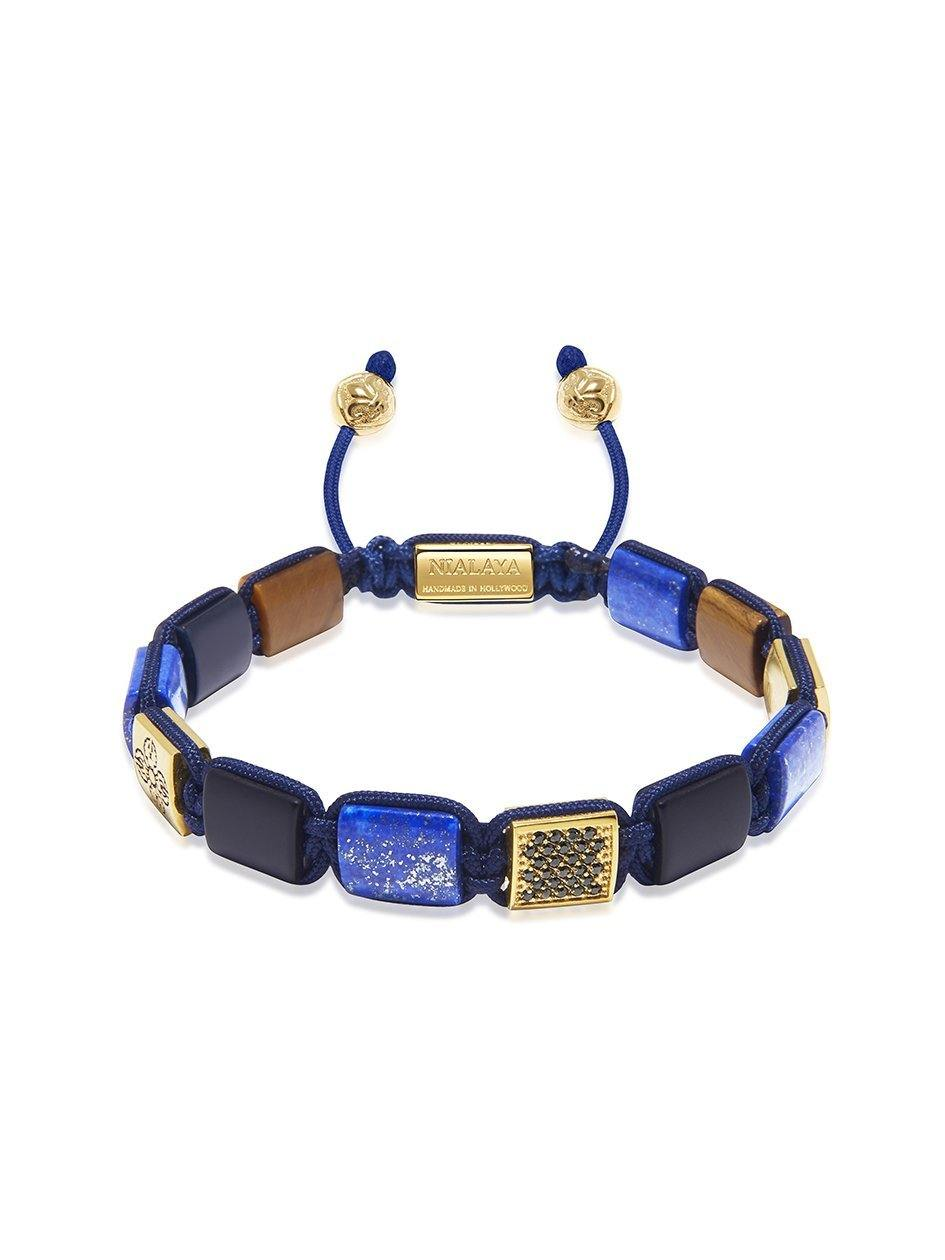 The Dorje Flatbead Collection - Blue Lapis, Matte Onyx, and Brown Tiger Eye - Nialaya Jewelry