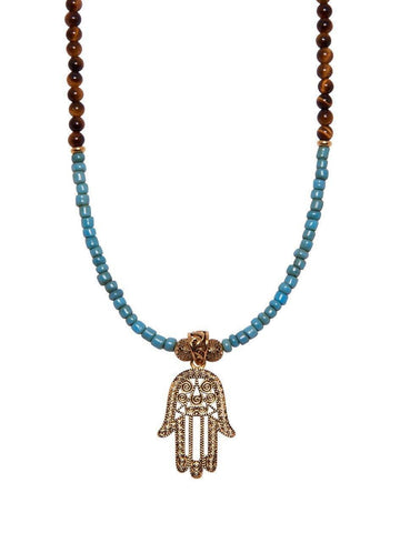 Men's Beaded Necklace with Vintage Turquoise, Brown Tiger eye and Gold Hamsa Hand
