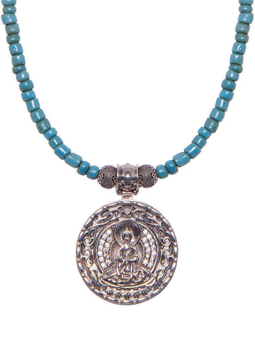 Men's Beaded Necklace with Vintage Turquoise and Buddha Amulet