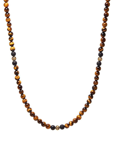 Men's Beaded Necklace with Brown Tiger Eye, Matte Onyx and Gold