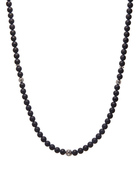 Men's Beaded Necklace With Matte Onyx and Silver - NIALAYA INC