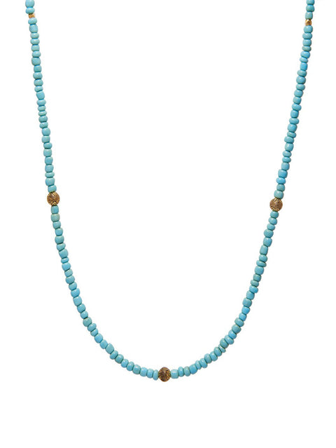 The Mykonos Collection - Men's Beaded Necklace with Turquoise and Gold