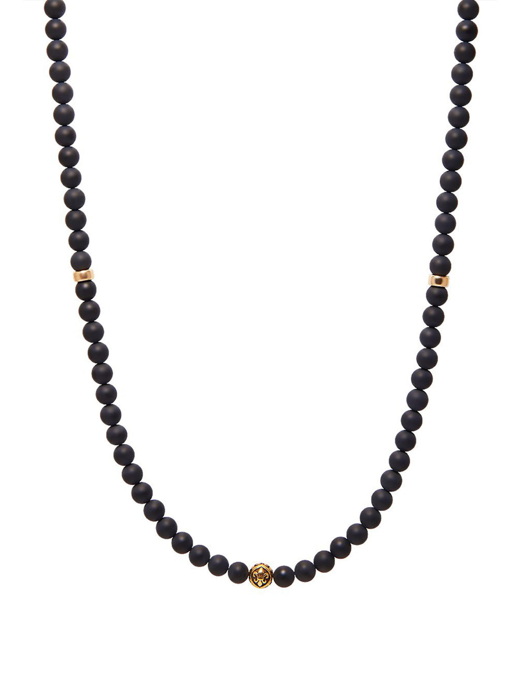 Men's Beaded Necklace with Matte Onyx and Gold