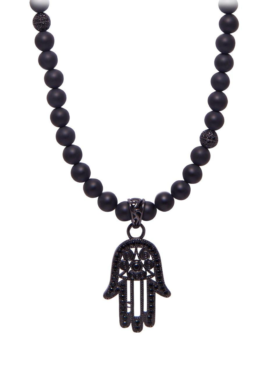 Mens beaded necklace with matte onyx and hamsa hand pendant mens beaded necklace with matte onyx and hamsa hand pendant aloadofball Images