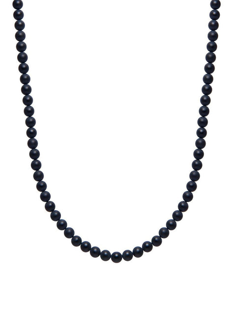 Men's Beaded Matte Onyx Necklace - NIALAYA INC