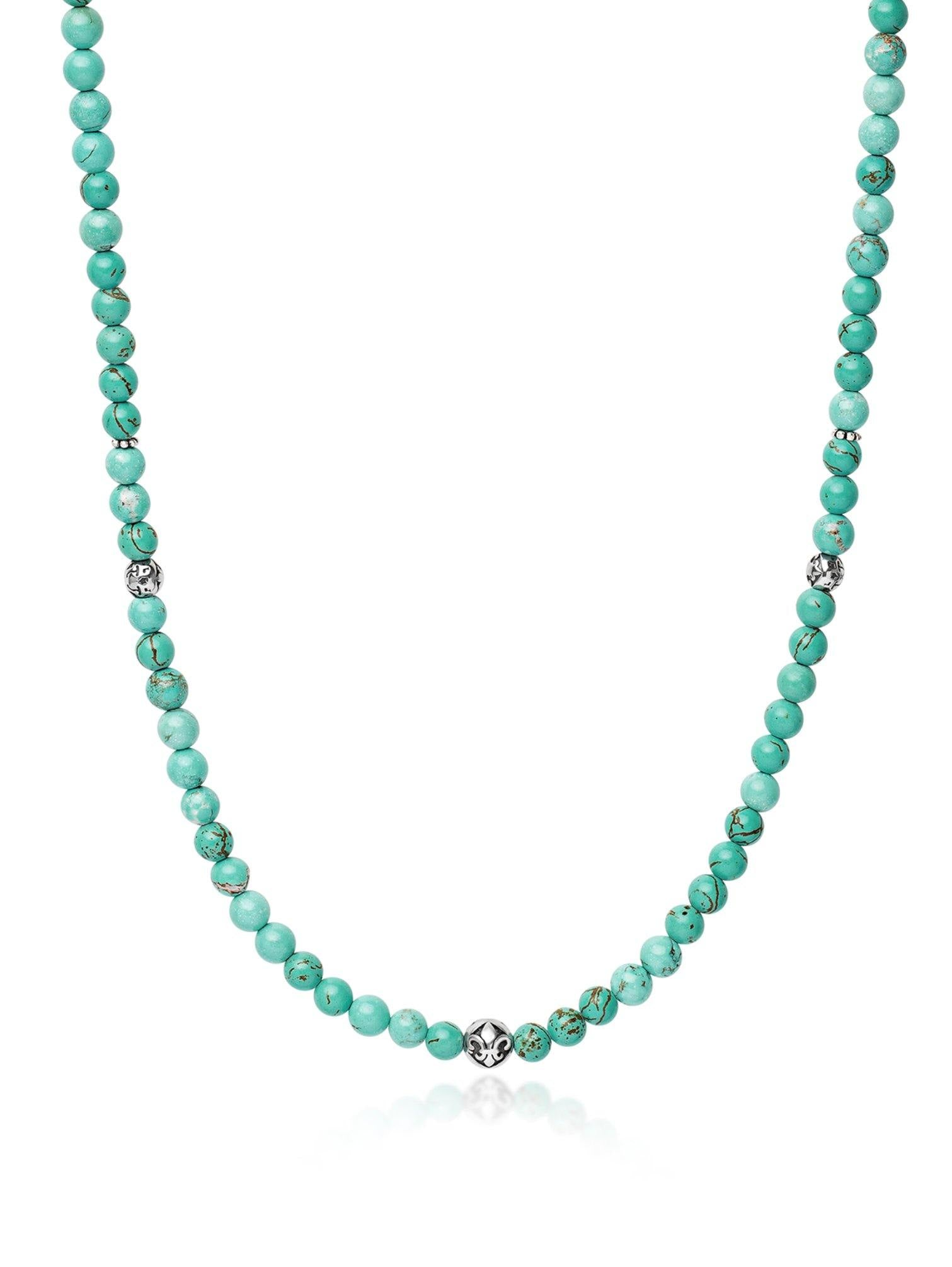 Men's Beaded Necklace With Turquoise and Silver - Nialaya Jewelry