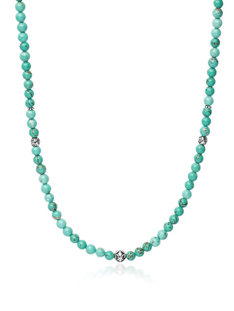 Men's Beaded Necklace With Turquoise and Silver