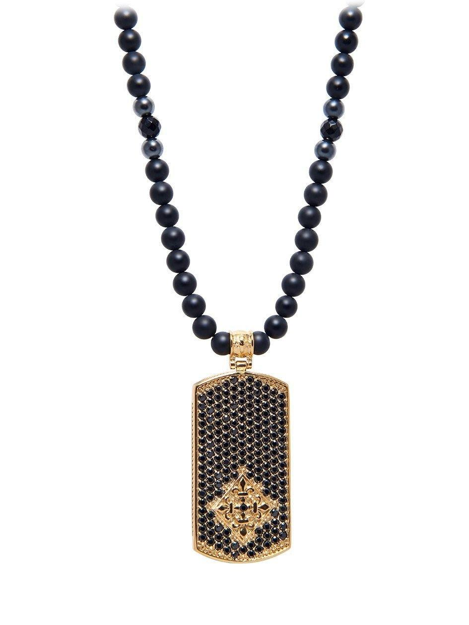 Men's Beaded Necklace with Matte Onyx and Gold Dog Tag