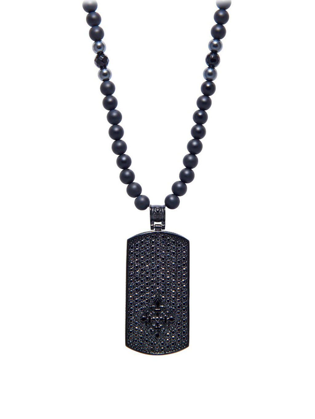 Men's Beaded Necklace with Matte Onyx and Black Dog Tag