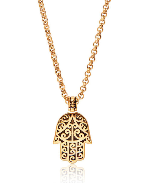 PRE-ORDER: Men's Gold Hamsa Hand Necklace - NIALAYA INC