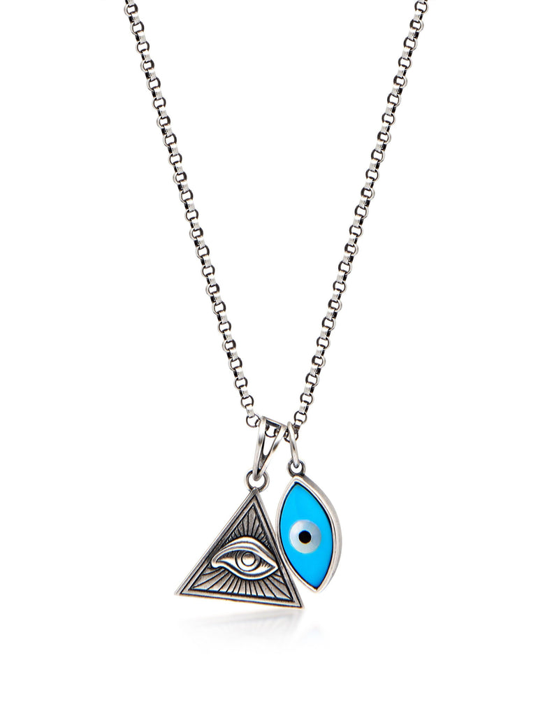 Men's Silver Necklace with Turquoise Evil Eye and Eye of Ra Pendant