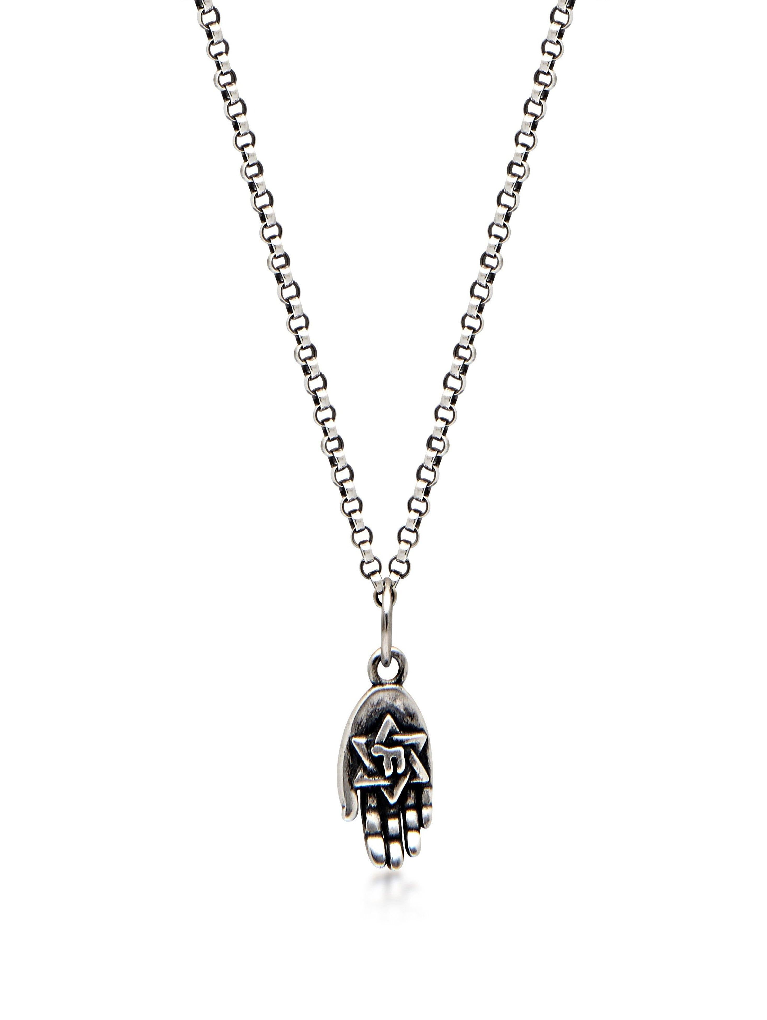 Men's Silver Necklace with Hamsa Hand Pendant
