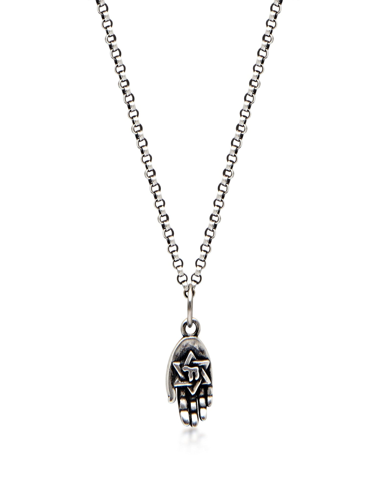 Men's Silver Necklace with Hamsa Hand Pendant - Nialaya Jewelry