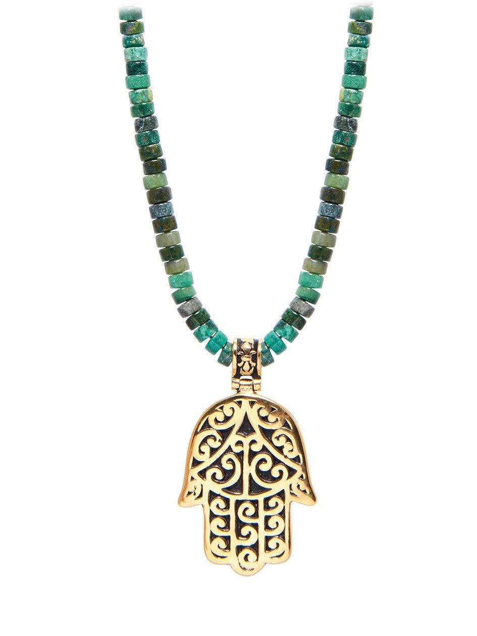 Mens beaded necklace with african jade and hamsa hand pendant mens beaded necklace with african jade and hamsa hand pendant aloadofball Choice Image