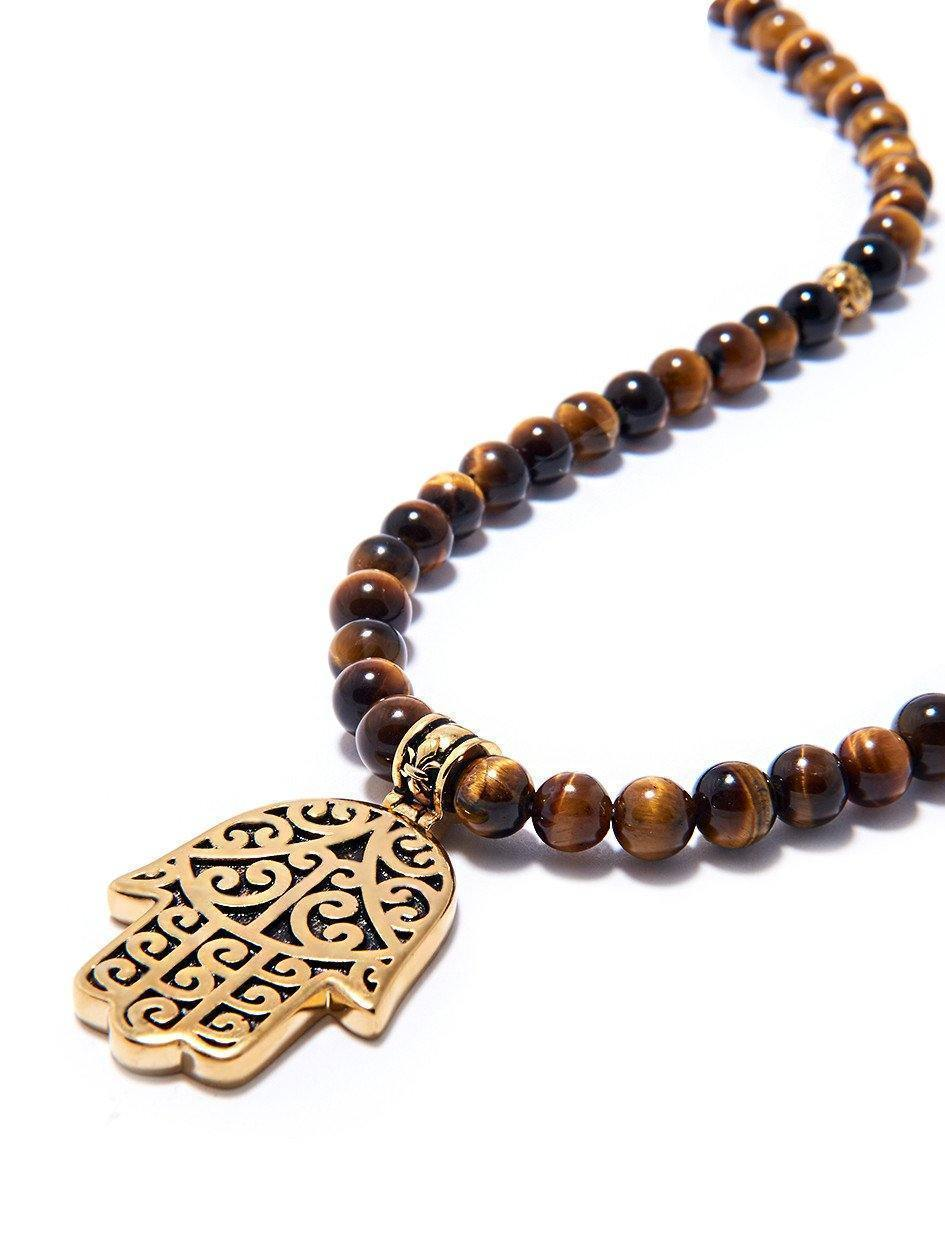 Mens beaded necklace with brown tiger eye and hamsa hand pendant mens beaded necklace with brown tiger eye and hamsa hand pendant aloadofball Images