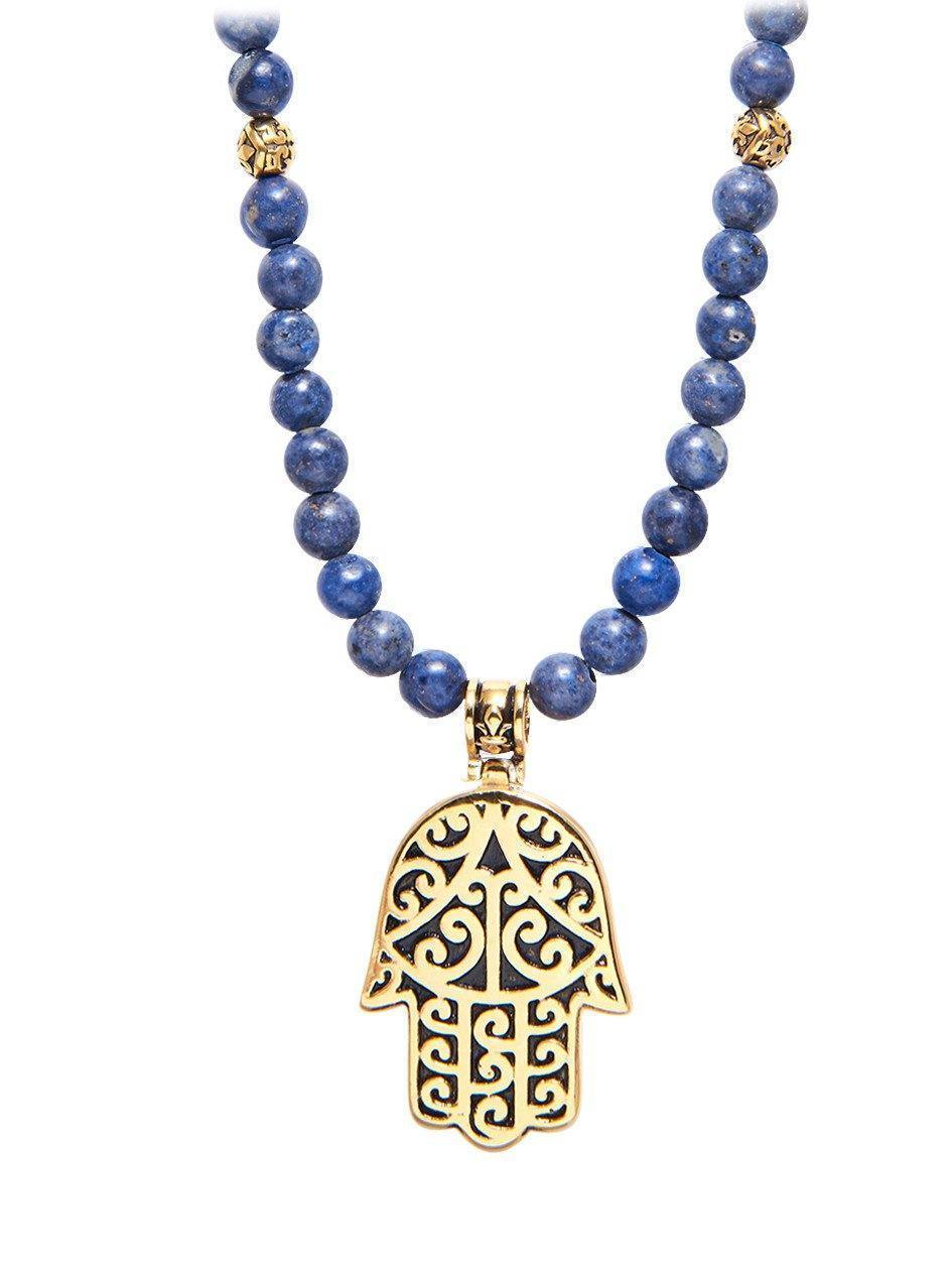 Men's Beaded Necklace with Blue Dumortierite and Hamsa Hand Pendant