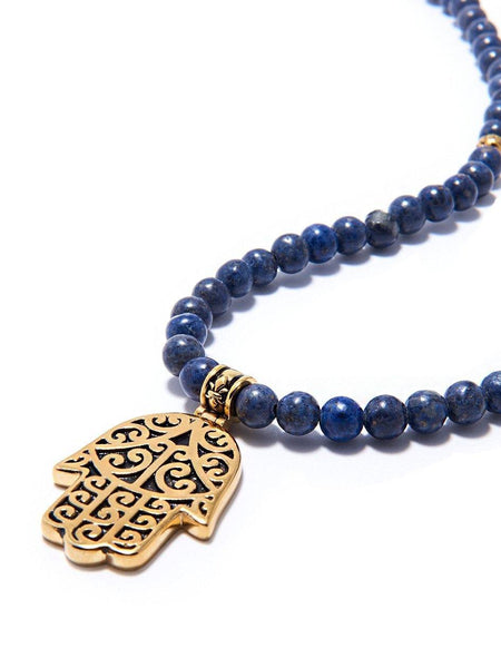 Men's Beaded Necklace with Blue Coral and Hamsa Hand Pendant