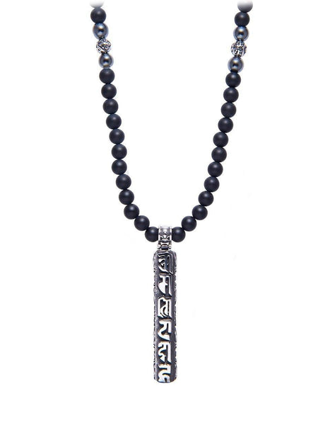 Men's Beaded Necklace with Matte Onyx and Silver Prayer Box Pendant