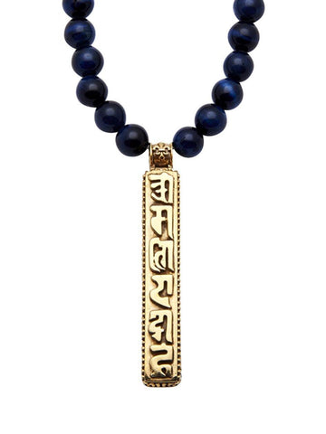 Men's Beaded Necklace with Blue Tiger Eye and Prayer Box Pendant