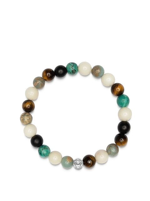 NIALAYA X JOHNNY EDLIND: Wristband with Turquoise, Brown Tiger Eye, White Coral, Opal, Ebony and Silver