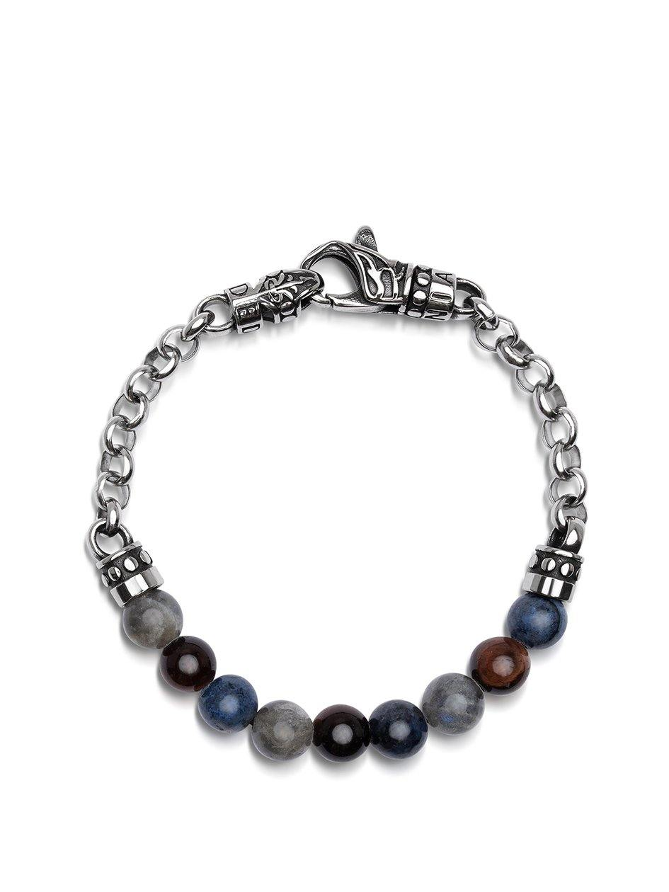 NIALAYA X JOHNNY EDLIND: Unisex Beaded Chain Bracelet with Blue Dumortierite, Red Tiger Eye and Labradorite - Nialaya Jewelry