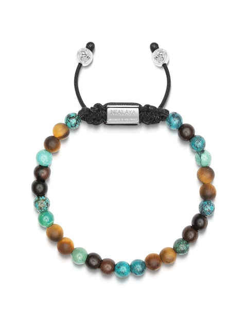 NIALAYA X JOHNNY EDLIND: Unisex Beaded Bracelet with Turquoise, Matte Tiger Eye and Ebony - NIALAYA INC