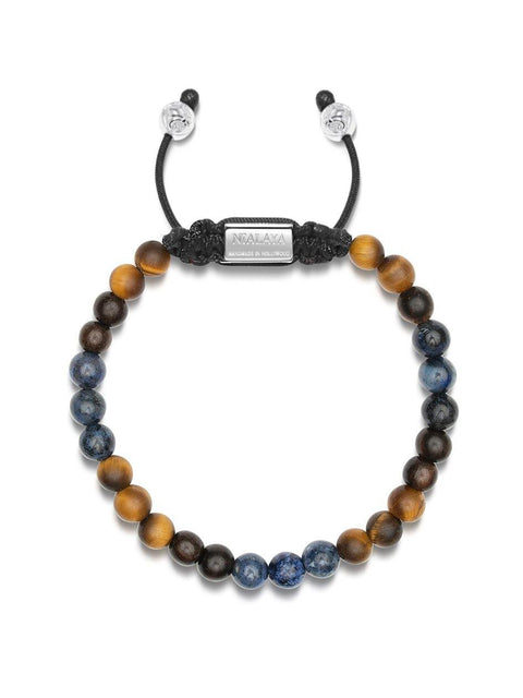 NIALAYA X JOHNNY EDLIND: Unisex Beaded Bracelet with Dumortierite, Matte Tiger Eye and Ebony - NIALAYA INC