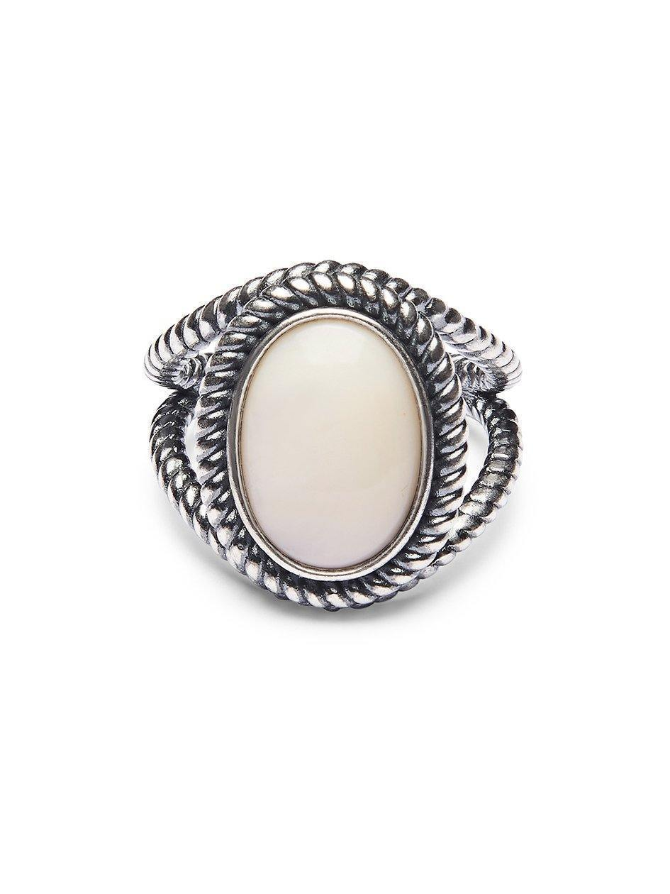 Women's Silver Ring with Mother Of Pearl Stone - Nialaya Jewelry