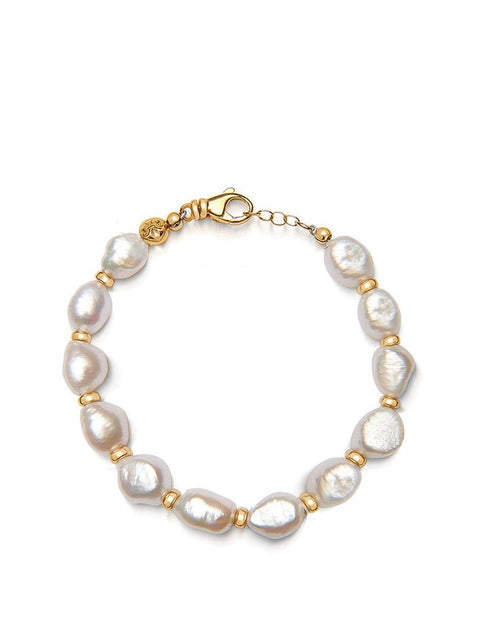 Men's Bracelet with Baroque White Pearl - Nialaya Jewelry