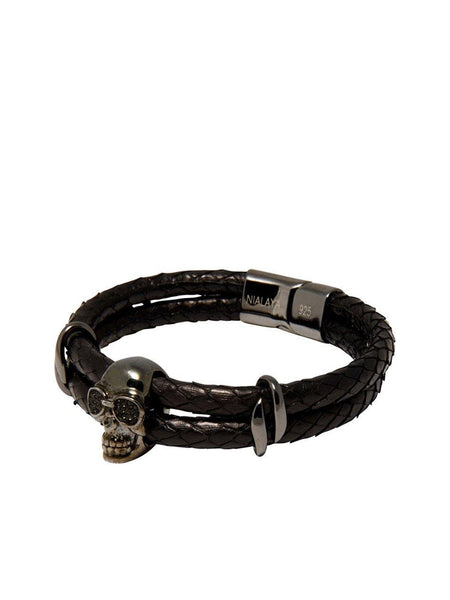 Men's Python Collection - Black Python with Black Skull - Nialaya Jewelry  - 1