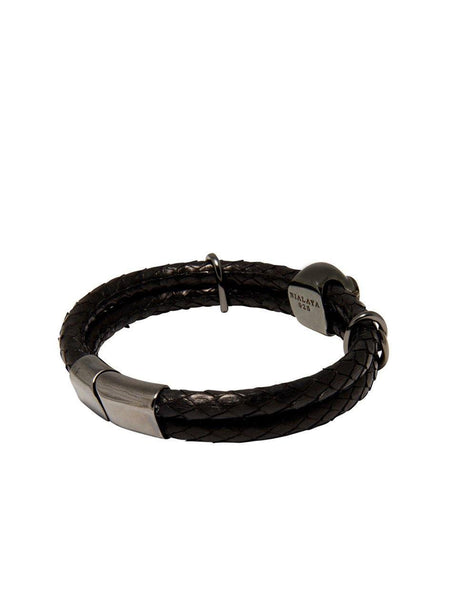 Men's Python Collection - Black Python with Black Skull - Nialaya Jewelry  - 2