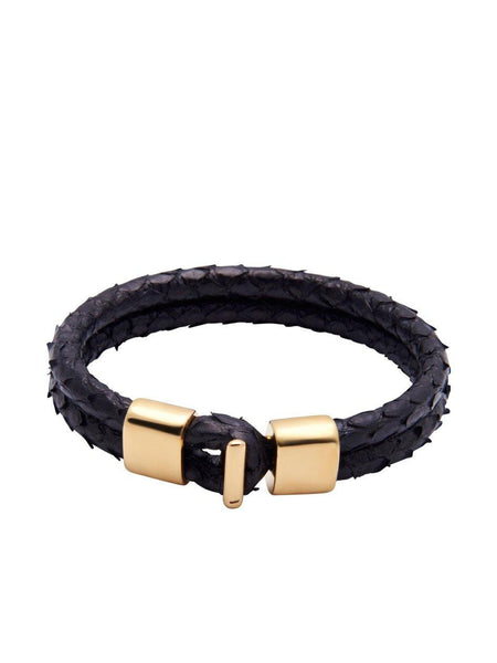 Men's Python Collection - Black Python with Gold Lock - Nialaya Jewelry  - 3